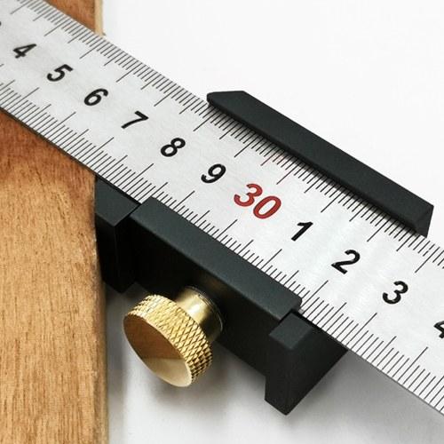 Aluminium Alloy Angle Scriber Steel Ruler Positioning Block Woodworking Line Locator Stop Block DIY Measuring Tool