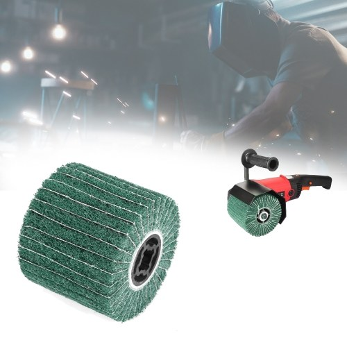 Колесо из нетканого материала для полировки из нержавеющей стали Колесо для волочения проволоки Волокно для портативного мотора Полировочное колесо для полировки Совместимо с машиной для полировки / шлифовкой / шлифовкой Green 80 # 120 мм * 100 мм фото
