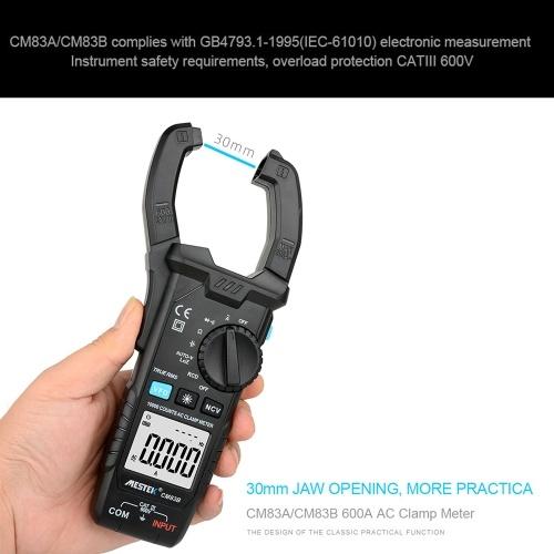 MESTEK Digital Clamp Meter 600A AC Current 600V AC/DC Voltage Capacitance Measurement Data Hold Backlight NCV Tester Multimeter