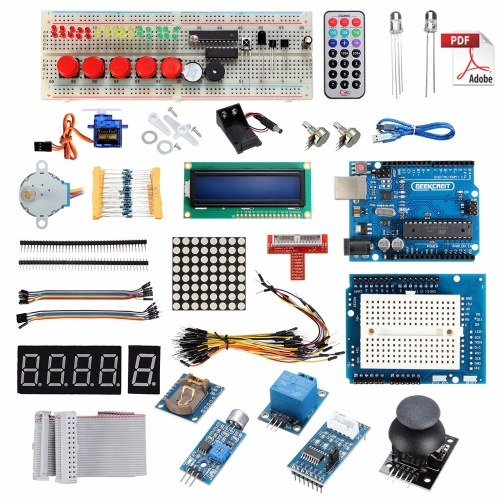 UNO Starter Kit for Ar-duino 1602LCD Servo Ultrasonic Motor L-E-D Relay RTC Compatible with Ar-duino