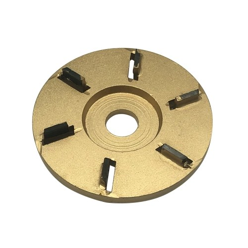 6-Teeth Power Wood Carving Disc Tool Milling Cutter Woodworking Turbo Tea Tray Digging for 16mm Aperture Angle Grinder Gold Flat