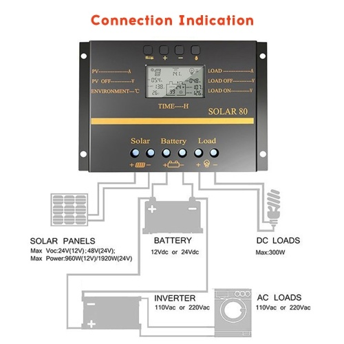 SOLAR80 Multi-Protection Intelligent LCD Screen Solar Charge Controller 12V/24V 80A Circuit Protecti