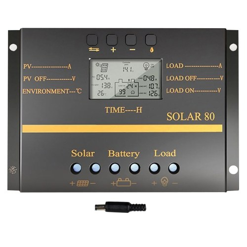 SOLAR80 Multi-Protection Intelligent LCD Screen Solar Charge Controller 12V/24V 80A Circuit Protection Durable ABS Case
