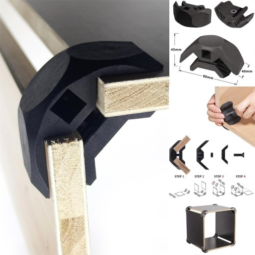 8 PCS Wood Clamp Panel Connectors Right Angle Clip Set for Creative DIY Furniture Closet Table Storage Shelf, Hard Plastic Material Black