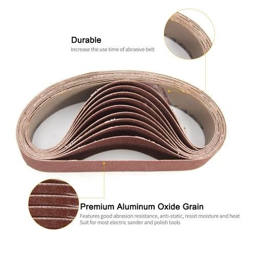 "10Pcs 3/"" x 21/"" Polishing Sanding Belts Aluminum Oxide For Sander Replacement 80#"