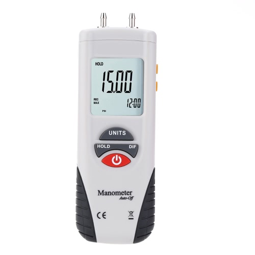 LCD Mini Digital Manometer Differential Gauge Air Pressure Meter ±2Psi Data Hold 11 Units