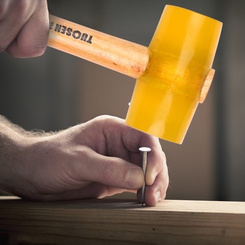 52000 Transparent Yellow Rubber Mallet Dual Face Tile Hammer with Wooden Handle
