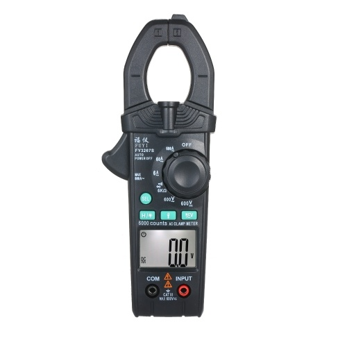 FUYI AC Clamp Meter 6000 Count High Precision Automatic Range Clamp Multimeter Digital Display AC Clamp Ammeter Clamp Gauge Black FY3267S