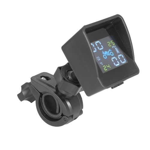 Upgrade Version Solar Power Tire Pressure Monitoring System Wireless TPMS Monitor with 2 External Sensors and Sunshade Auto Tyre Alarm for Motorcycle