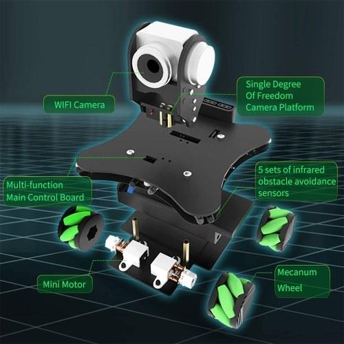 Robot Car Coding Mecanum Wheel Smart Robot Kit Whit FPV Camera   DIY 4WD Omni Mecanum Wheel Educational Motorized Robot for Programming   Learner