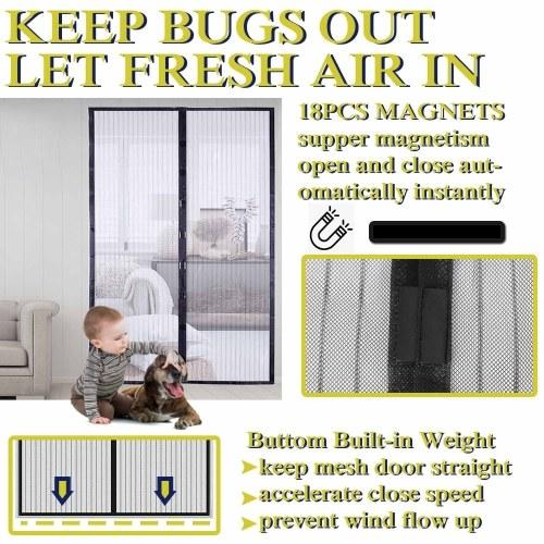 Hands Free Magnetic Screen Türgitter Vorhang hält Insekten fern Vollrahmenmagnete mit Magic Tape Drill Free Install Auto Close Kid Haustierfreundlich Passend für Türen bis zu 39 x 83 Zoll