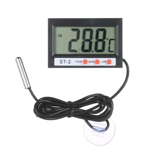 LCD digitale Acquario Termometro Terrario Termometro Serbatoio di pesce Indicatore di temperatura Monitor di temperatura con sonda Pulsante Cella a nastro Ventosa per frigorifero Congelatore Rettile Sala da laboratorio Camper