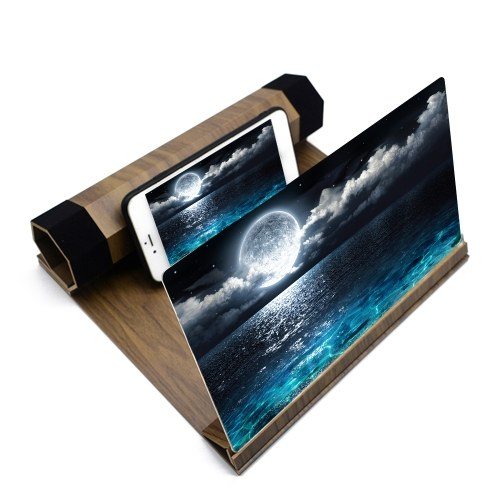 Multifunctional 12in Lightweight Wooden High Definition Phone Screen Amplifier Magnifier Eye Protections Display Smartphone Holder Stand
