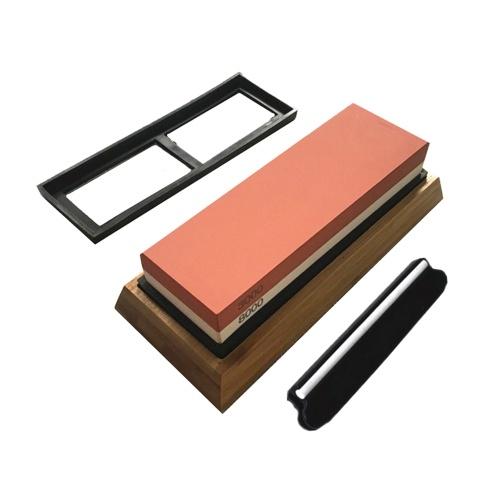 Afilador de piedras para afilar cuchillos, grano de 2 lados, 3000/8000, piedra de afilar con soporte de silicona antideslizante, base de bambú, guía de ángulo, afilador, kit de herramientas para cocina, 18 * 6 * 3 cm
