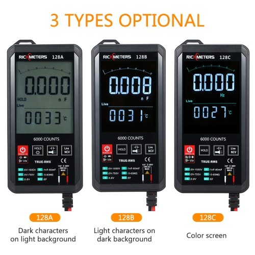 RICHMETERS Digital Multimeter 6000 Counts True-RMS Auto Ranging AC/DC Voltage Temperature Measuring Meter Flash Light Backlight Large Screen