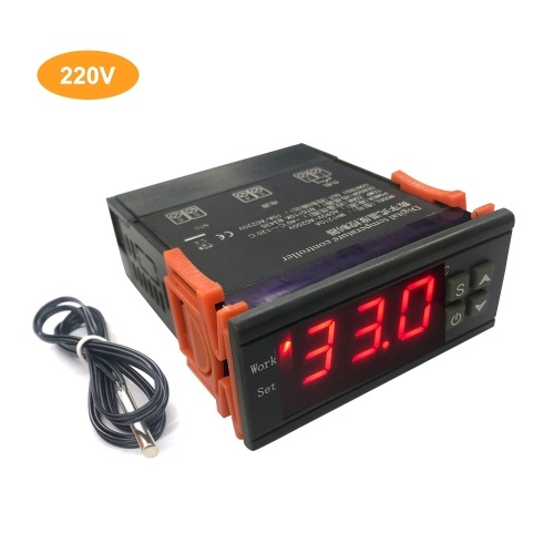 MH-1210A Intelligent Digital Temperature Controller High Accuracy Heating/Cooling NTC Sensor Temp Control Thermostat Regulator with Sensor for Freezer Fridge Hatching