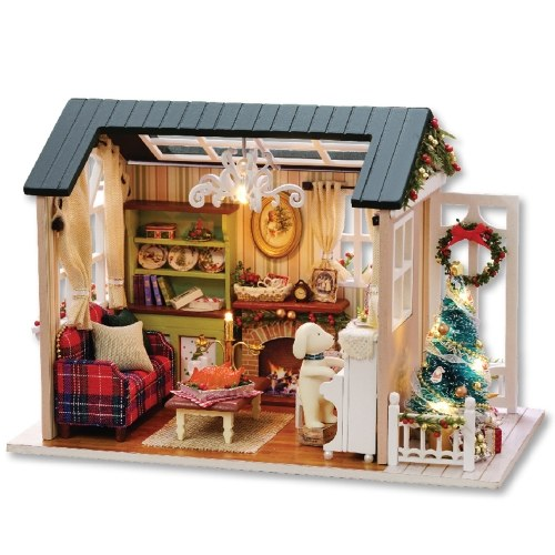 DIY Dollhouse Wooden Room Assemble Kit Home Decoration Miniature House Model Self-installed Simulation Dollhouse