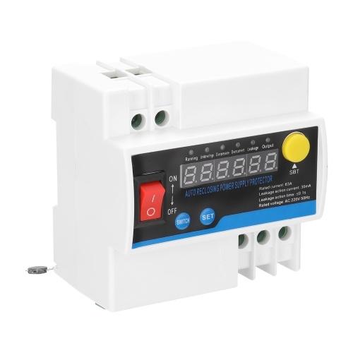Haushalts 63A Einphasen-Wiedereinschalt-Leckschutzschutz mit automatischer Wiedereinschaltung Elektrisches Quellenschutzgerät