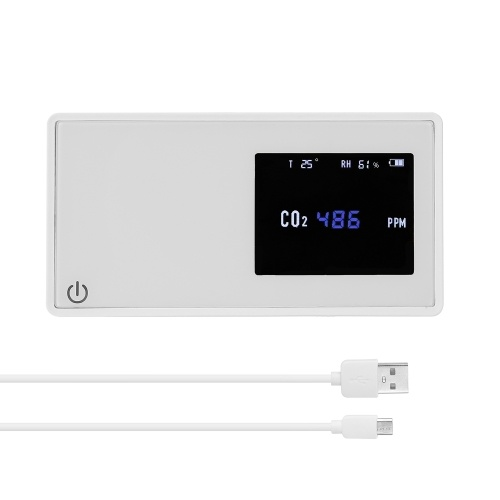 Household Air Quality Detector CO2 Tester with Carbon Dioxide Value Electricity Quantity Temperature Humidity Display