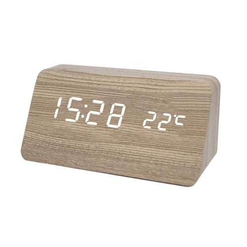 多機能木製時計LEDデジタル時計樟脳木目調木目調ミュートサウンドコントロールLED電子目覚まし時計学生ギフト電子時計温度時刻日付機能音声起動センサー時計天気温度計台形樟脳木目調