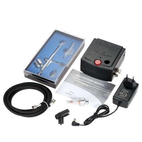 KKmoon 100-250V Professional Gravity Feed Dual Action Airbrush Air Compressor Kit