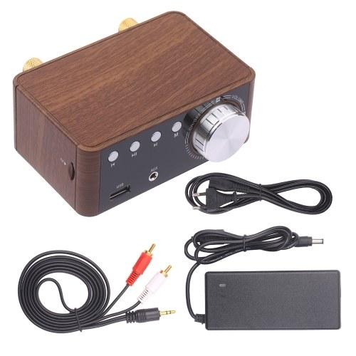 BT 5.0 Leistungsverstärker 100 W Mini-HiFi-Stereo Klasse D Audioverstärker 2,0-Kanal-Funkempfänger Verlustfreier Musikplayer TF USB-Heimlautsprecher mit Netzteil und Audiokabel
