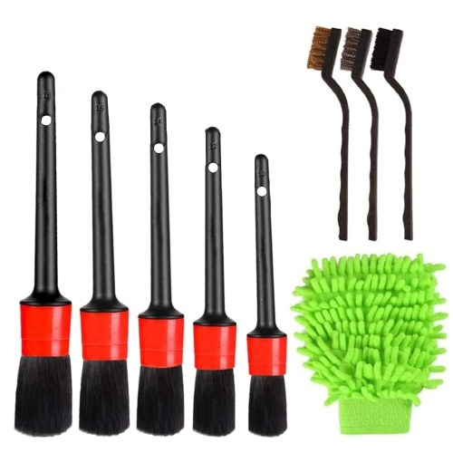 9 Pcs Car Cleaner Brush Set Including Premium Detail Brush, Wire Brush and Car Wash Mitt, Auto Detailing Brush for Cleaning Wheels, Interior, Exterior