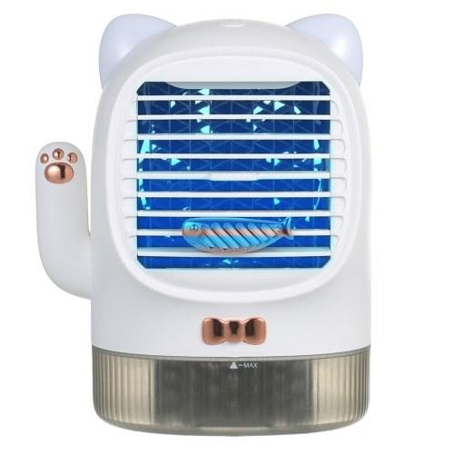 Condizionatore d'aria portatile a luce UV Ventilatore USB ricaricabile silenzioso Ventilatore da tavolo Raffreddatore evaporativo Umidificatore Diffusore di olio essenziale con luce notturna per camera da letto Ufficio