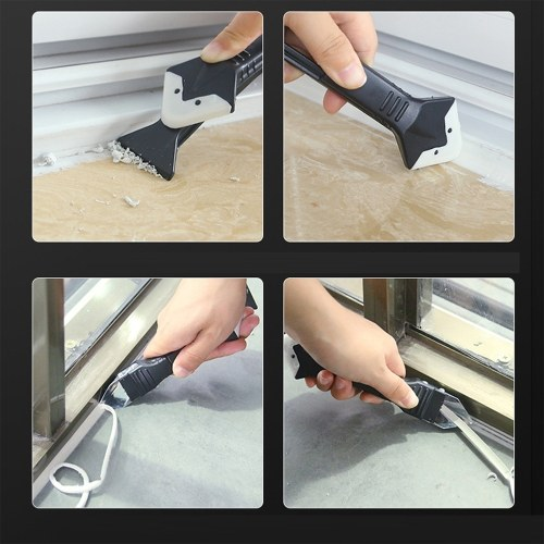 KKmoon Three-in-one Shoveling Device Caulking Tool Silicone Squeegee Angle Glass Glue Angle Scraper Shovel Glue Scraper Angle Squeegee Blade