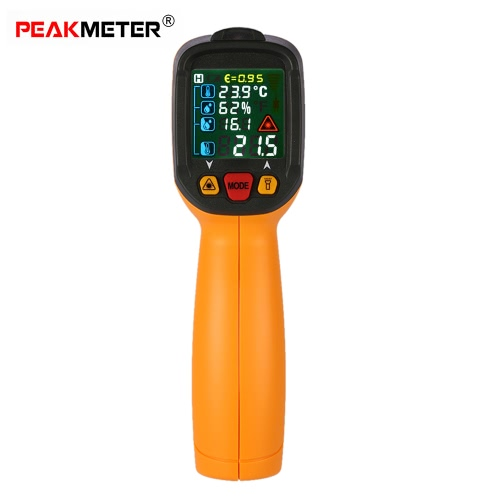 PEAKMETER PM6530D Handheld -50~800°C 12:1 Handheld Digital Infrared IR Thermometer Ambient Temperature Humidity Dew Point Tester K Type Thermocouple with UV Light Adjustable Emissivity