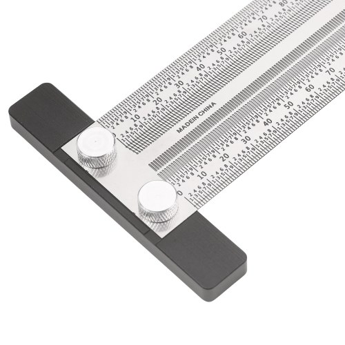 High-Precision Scale Ruler Marking Ruler T-Type Hole Ruler Right Angle Ruler Multifunctional Stainless Woodworking Scribing Mark Line Gauge Carpenter Measuring Tool