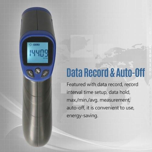 Digital Tachometer Laser Tachometer Handheld RPM Meter Speedmeter (2.5-99999RPM Measuring Range) with Backlit LCD Display for Motor Machine Lathe