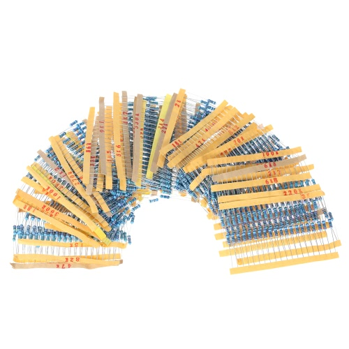 1000pcs 1/2W 50 Values 0.1 ohm to 3.6M ohm Metal Film Resistors Assortment Kit Electronic Components