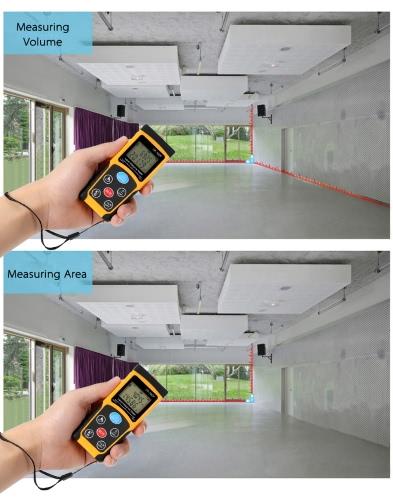 100m Portable Handheld Digital Laser Distance Meter High Precision Range Finder Area Volume Measurement Data Storage with Backlight, TOMTOP  - buy with discount