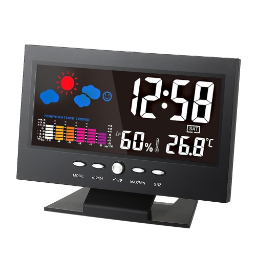 °C/°F Multifunctional Indoor Colorful LCD Digital Temperature Humidity Meter Weather Station Clock Thermometer Hygrometer Calendar Temperature Trend Alarm Comfort Level Weather Forecast Vioce-activated Backlight with USB Cable