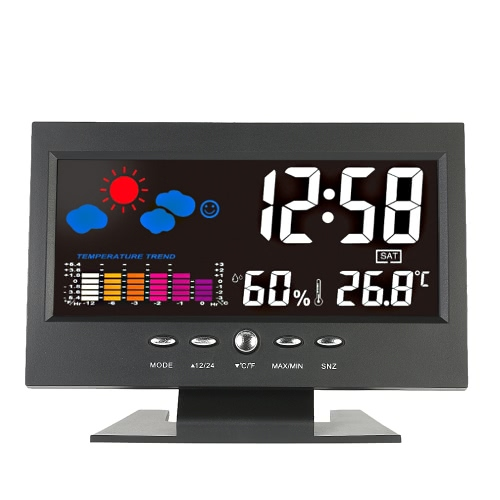 ° C / ° F Multifuncional Indoor colorido LCD Medidor de umidade de temperatura digital Weather Station Clock