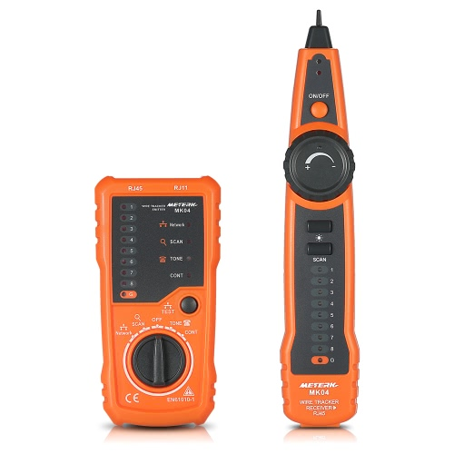 Meterk Multifuncional RJ11 RJ45 Cable Tester Buscador de línea de mano Cable Tracker Cable Comprobar Wire Instrumento de medición para Network Maintenance Collation