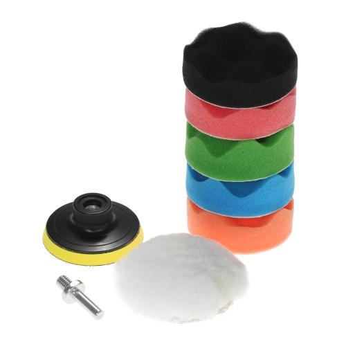 """7PCS A estrenar 3 """"80mm / 5"""" 125mm / 6 """"150mm / 7"""" 180mm Cepillos de pulido del coche que enceran el lustre que limpia el cojín del kit de la esponja para el amortiguador del pulidor del coche Cepillo de cera que pulimenta Cera encerando el esmalte incluyendo 5 paños de pulido + Con vara"""
