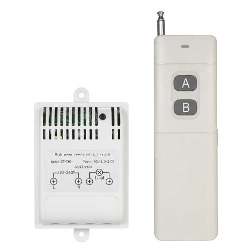 GeekTeches AC110-240V 4000m High Power 433MHz 1CH Wireless RF Controle Remoto Switch Smart Controller Transmissor + Receptor para Eletrodomésticos Wireless Remote Light Switch Branco