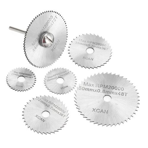"""Lames de scie circulaire HSS 7pcs Kit d'outils de coupe rotatifs avec tige de 1/8 """"pour couper le bois et le plastique"""