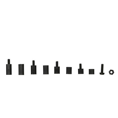 M3 / M2.5 Colonna esadecimale Colonna a vite Phillips Distanziali maschio-femmina Bianco / Nero Dadi in nylon in plastica Dadi Assorted Kit di montaggio hardware con scatola in plastica