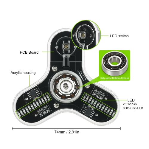 DIY Fidget Spinner Kit with Acrylic Case LED Light Hand Finger Spinner High-speed Rotation Bearing Focus Toy for ADHD Anxiety Auti