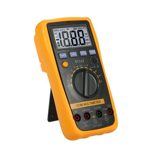 Vici Auto Range NCV検出器付きマルチファンクションデジタルマルチメータDMM DC AC電圧電流メータ抵抗ダイオード温度テスタトランジスタhFE測定マルチメータ連続性テストバックライト2000 LCDディスプレイ