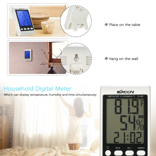 "KKmoon LCD โ""?/ โ""?Digital Thermometer Hygrometer Alarm Clock"