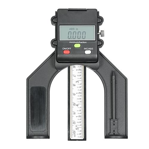 0-130ミリメートルデジタルLCDディスプレイ高さゲージ深さゲージ3つの測定ユニットを持つテーブルソー高さゲージ木製のルータのテーブルのための固定ネジ