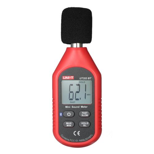 UNI-T UT353BT Mini LCD Medidor de Nível de Som Digital Instrumento de Medição de Ruído Decibel Monitoring Tester 30-130dB