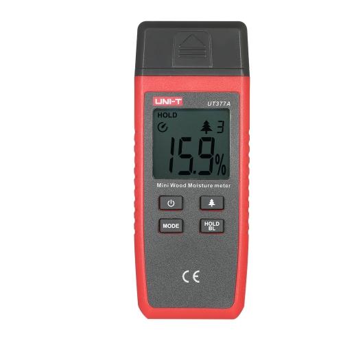 UNI-T UT377A Профессиональный мини-ручный жидкокристаллический индикатор влажности древесины древесины Датчик влажности 2 штыря Тестер Диапазон 2% ~ 40% Точность ± 2%