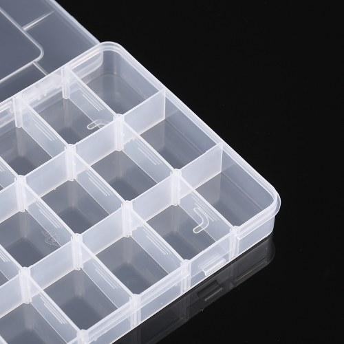 Transparent 18 Grids Adjustable Plastic Storage Containers Jewelry Bead Bathroom Accessories Small Tools Organizer Box