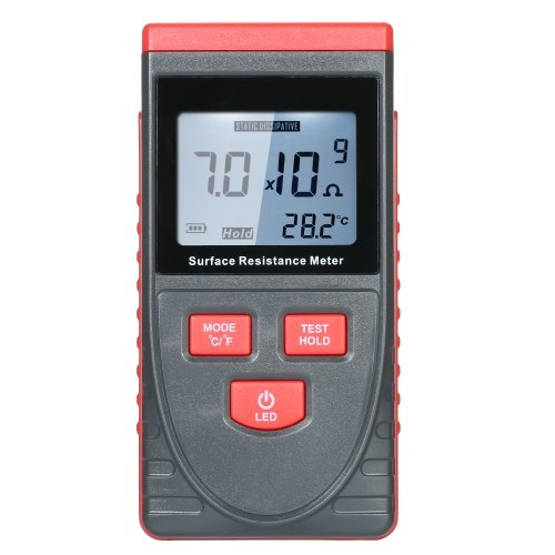 Handheld Surface Resistance Meter Anti-static Insulation Resistance Tester with LCD display Temperature Measurement and Data Holding Function