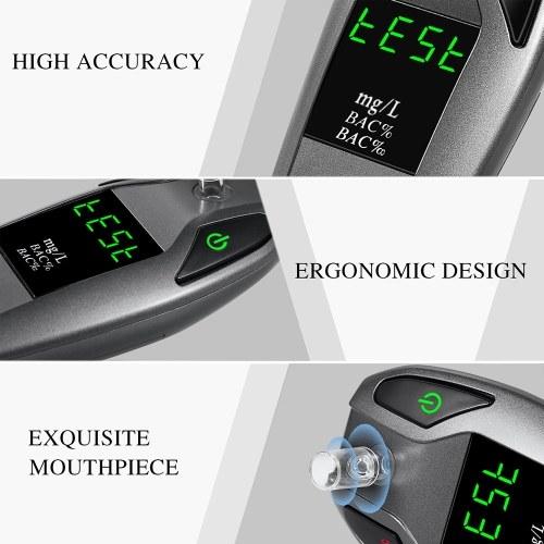 Digital Breath Alcohol Tester Fuel Cell Sensor Digital Breath Alcohol Tester and Professional Grade Blood Alcohol Content Detector with 5pcs Transparent Mouthpieces